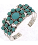 Navajo Turquoise Cluster Bracelet Handmade Sterling Silver Cuff - $440.07