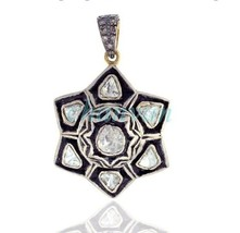 Vintage Handmade Rose Cut/Polky Diamond 925 Silver Star Wedding Pendant ... - $395.05