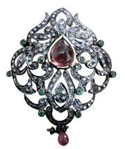 Victorian/Vintage Style 925 Silver Rose Cut Diamond Unique Brooch/ Pin @... - $339.25