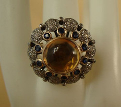 Vintage Antique Look 2.00Ct Rose Cut Diamond Silver Sapphire Brooch Pin CSJ298 - $280.00