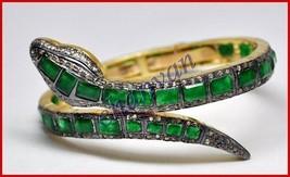 Vintage Style 3.00Ct Rose Cut Diamond Sterling Silver Pave Snake Bracele... - $404.85