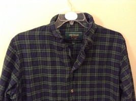 Lee Valley L Plaid Flannel PJ Button Up Navy Blue Green Great Condition image 2