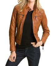Women's Genuine Lambskin Leather Motorcycle Slim fit Designer Biker Jacket FB - $68.30+