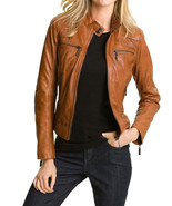 Women's Genuine Lambskin Leather Motorcycle Slim fit Designer Biker Jack... - $68.30+