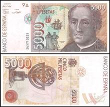Spain 5,000 (5000) Pesetas, 1992, P-165, UNC - $59.99