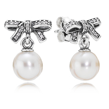 925 Sterling Silver Delicate Sentiments with White Pearl Stud Earrings QJCB822 - $21.99