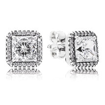 925 Sterling Silver Timeless Elegance & Clear CZ Stud Earrings QJCB750 - $22.88