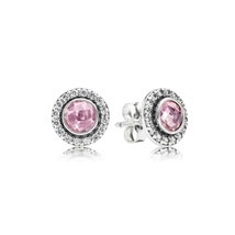 925 Sterling Silver Brilliant Lagacy with Pink CZ Stud Earrings QJCB666 - $21.99