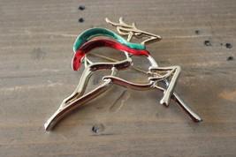 Vintage DANECRAFT Reindeer Enamel Christmas Brooch - $29.70