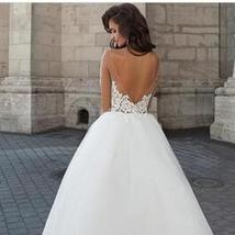 New Tulle With Lace Appliques Illusion Bridal Gown Ball Gown Custom Made image 2