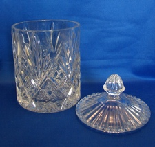 Clear Lead Crystal Biscuit Barrel Lidded Cookie Jar Canister Diamond & Fan - $12.99