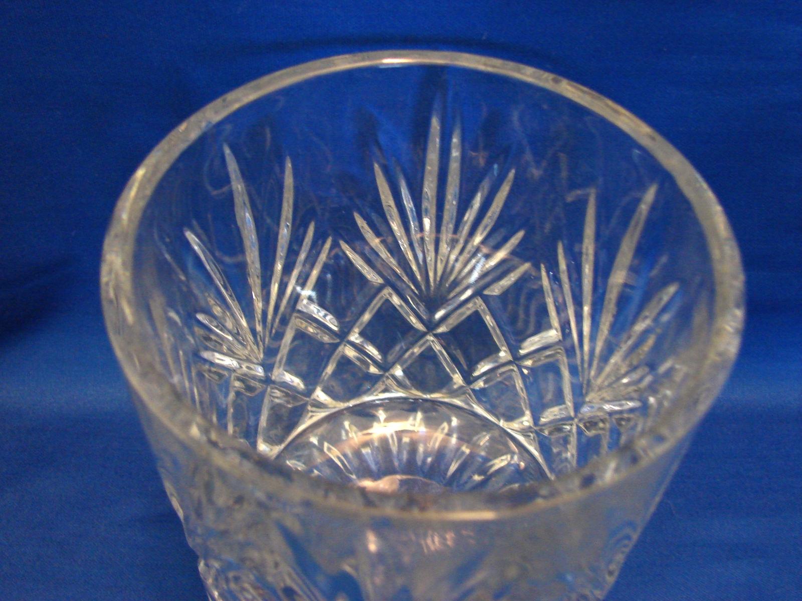 Clear Lead Crystal Biscuit Barrel Lidded Cookie Jar Canister Diamond & Fan