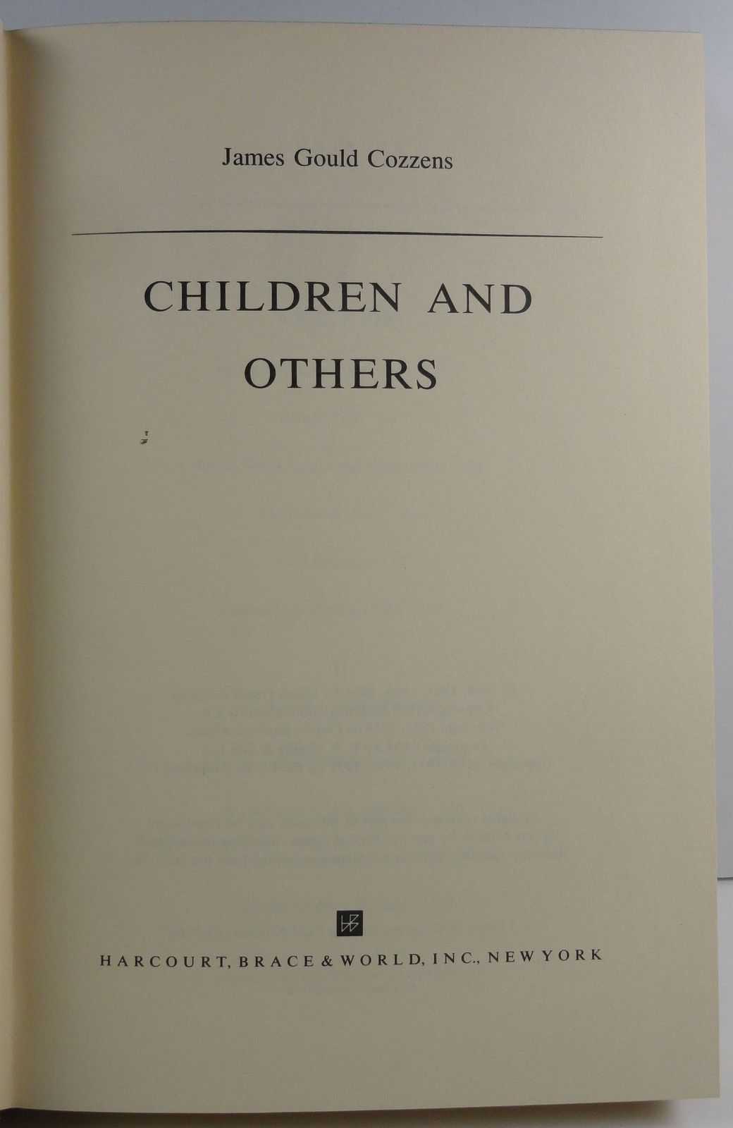 Children and Others by James Gould Cozzens 1964 HC/DJ
