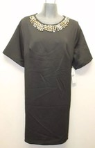 New Eliza J Little Black Dress Rhinestone Collar Bejewelled Sz 8 Stretch Washabl - $92.77