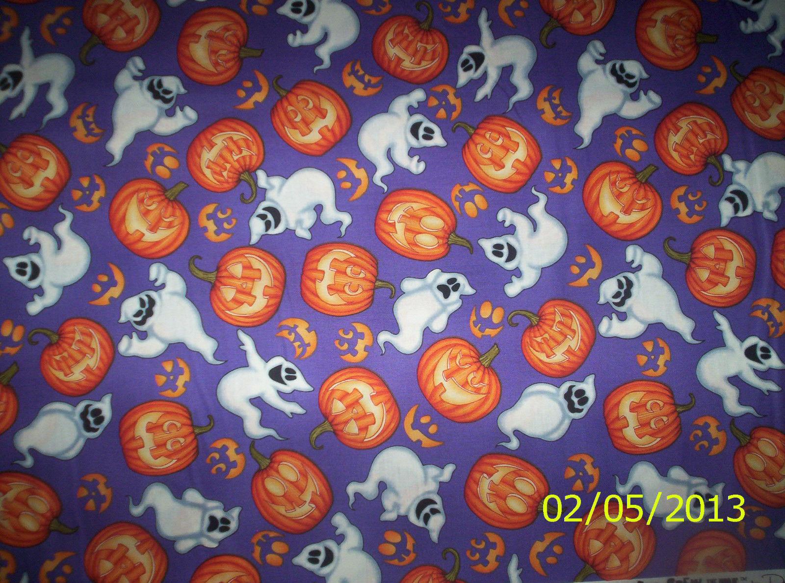 new  Halloween Purple Ghost & Pumpkin Toss 100% cotton fabric by the yard