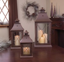 "Set of 3 Cottage-Style Brown Pillar Candle Holder Lanterns 24"" - $103.69"