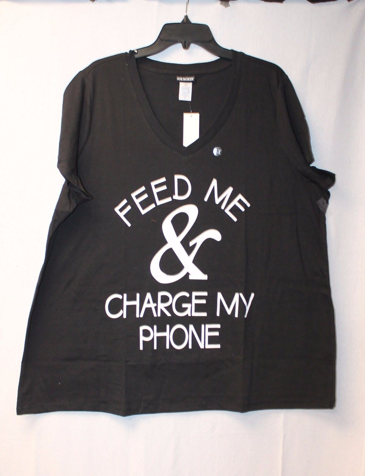 CUTE & FUNNY NEW WOMENS PLUS SIZE 3X FEED ME & CHARGE MY PHONE TEE SHIRT TOP