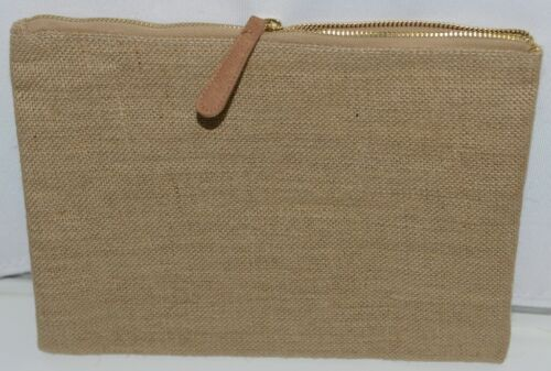 WB M725BURLAP Burlap Zip Pouch Zipper Closure Color Tan