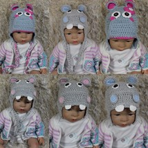New Handmade Hippo Hat Baby Child Knit Crochet Hat Cap Newborn Photo Pro... - $8.99