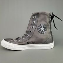 Converse CTAS Back Lace Hi Top Shoes Womens SZ 8 See Through Chucks Gray White image 4