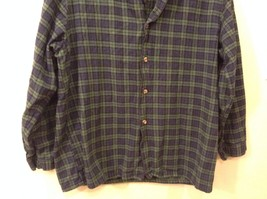 Lee Valley L Plaid Flannel PJ Button Up Navy Blue Green Great Condition image 3