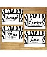 Zebra Wall Art Print Decor Inspirational Quote Hope Learn Laugh Live Bla... - $13.79