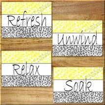 Leopard Bathroom Yellow Gray Wall Art Prints Quotes Bath Rules Relax Soa... - $13.79
