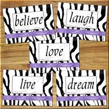 Zebra Wall Art Prints Purple Decor Quote Love Laugh Live Dream Motivational Home - $16.29