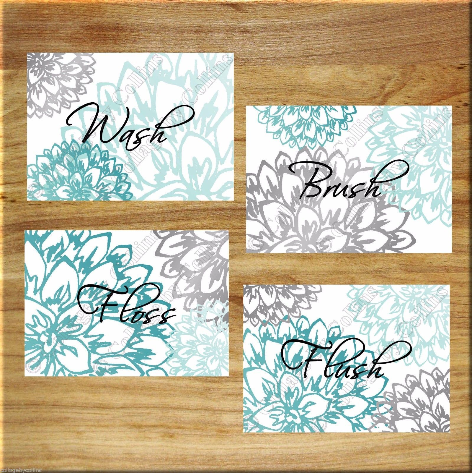 Primary image for Teal Aqua Gray Wall Art Prints Bath Rules Quotes Bathroom Decor Floral Flowers