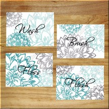 Teal Aqua Gray Wall Art Prints Bath Rules Quotes Bathroom Decor Floral F... - $13.79