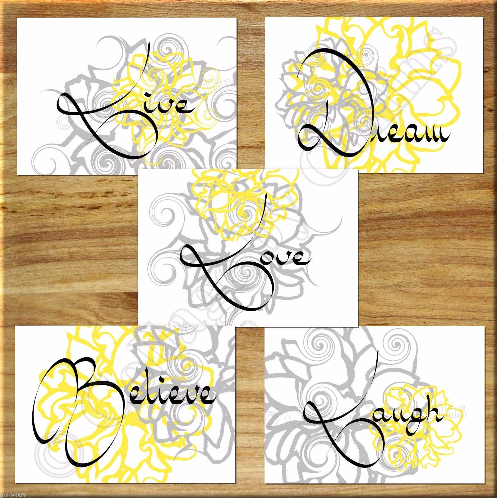 Primary image for Gray Yellow Wall Art Picture Print Live Laugh Love Flower Floral Bedroom Nursery
