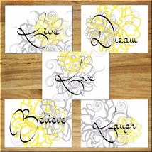 Gray Yellow Wall Art Picture Print Live Laugh Love Flower Floral Bedroom... - $15.99
