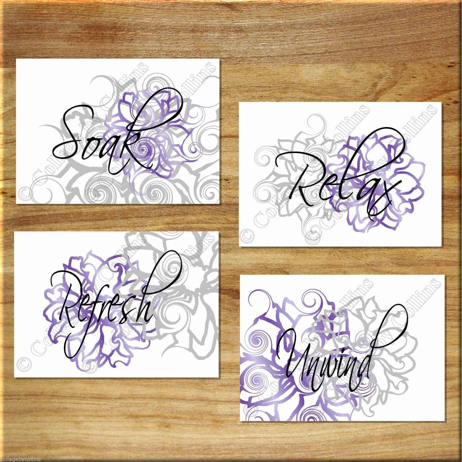 Primary image for PURPLE and GRAY Wall Art Bathroom Flower Floral Prints Decor Relax Soak Unwind +