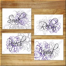 PURPLE and GRAY Wall Art Bathroom Flower Floral Prints Decor Relax Soak ... - $13.79