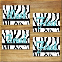 Turquoise Teal/Blue Wall Art Zebra Prints Bath Quote Rule Flush Wash Bru... - $13.79