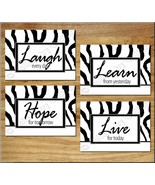 BLACK and WHITE Zebra Wall Art Prints Decor WORDS Quotes Hope Learn Laug... - $13.79
