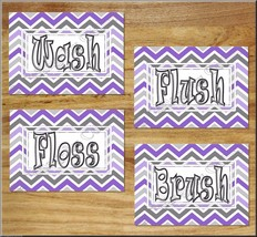 Purple & Gray Chevron Bathroom Wall Art Prints Quotes Wash Brush Flush D... - $13.79