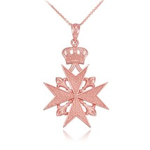 14k Rose Gold Maltese Cross Russian Imperial Order Pendant Necklace (18) - $289.99
