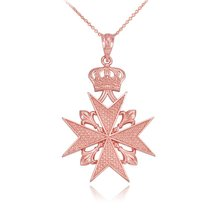 14k Rose Gold Maltese Cross Russian Imperial Order Pendant Necklace (22) - $309.99