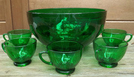Punch Bowl Forest Green with 7 Cups Anchor Hocking vintage - $45.00