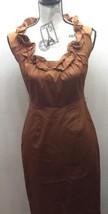 Ellie Tahari Brown Toffee Women Dress 2 Lined Sheath Ruffle Neckline Sle... - $31.03