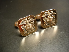 Swank Cuff Links Armed Services Logo on Gold Colored Metal Presentation ... - $16.99