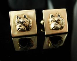 Vintage BullDog cufflinks Dog cufflinks Breeder Animal Lover pitbull cufflinks m - $165.00