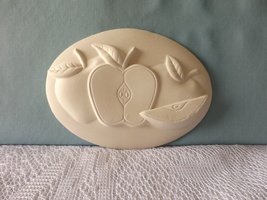 Apple Insert Ceramic Bisque Ready-to-Paint, Unpainted, You Paint, U Pain - $2.75
