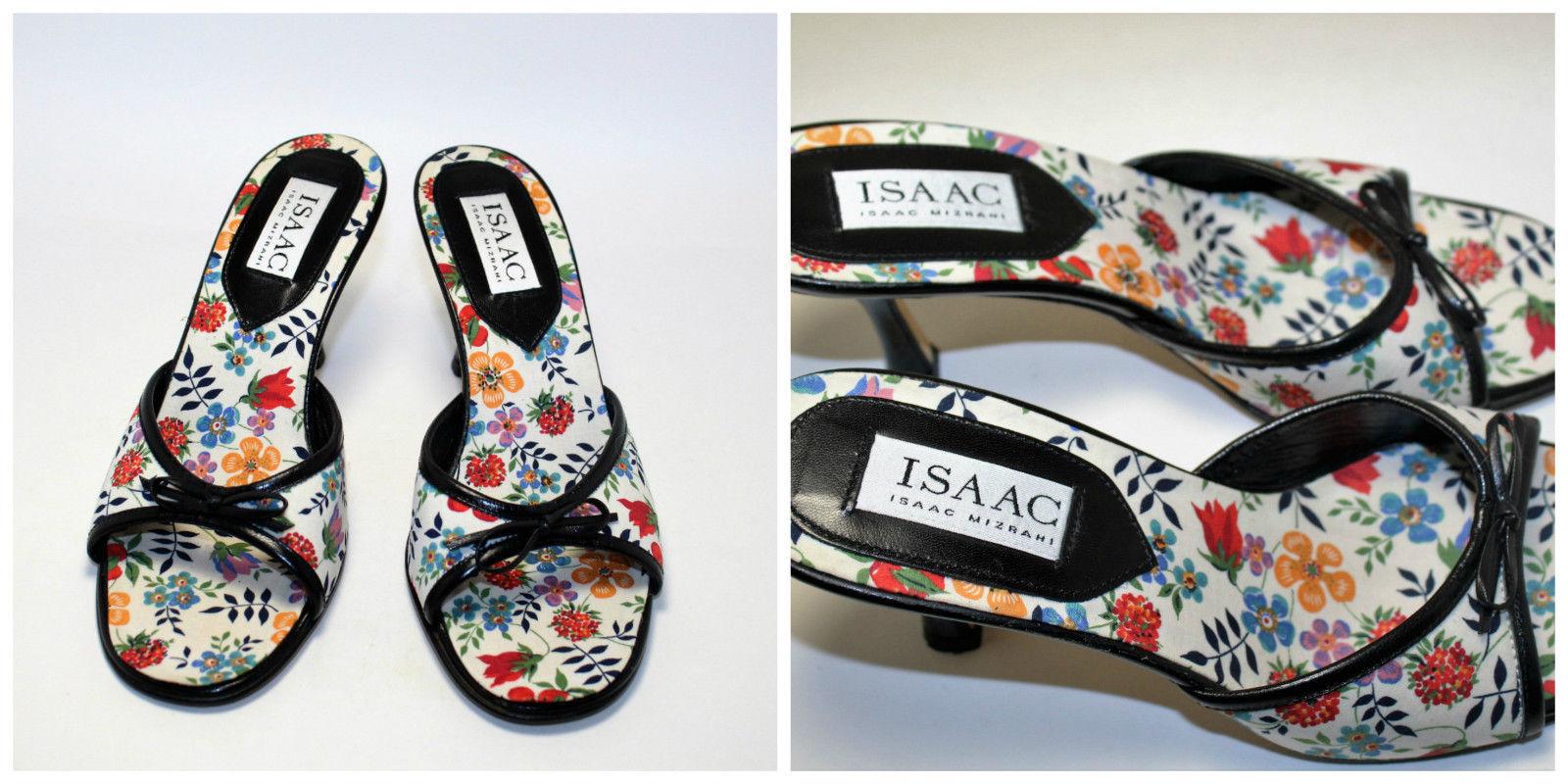 Womens Isaac Mizrahi White Floral Pattern Bow Slide Heels Size 7 1/2 B - $37.62