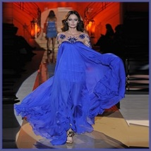 Baroque Sheer Beaded Sleeves n Bodice Flowing Chiffon Pageant Plus Designer Gown - $447.95