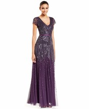 Adrianna Papell New Womens Purple Embellished V-Neck Cap-Sleeve Gown   4    $326 - $178.20