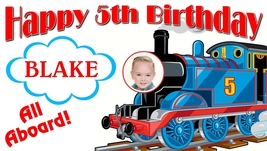 Thomas the Train -Personalized- Birthday Banner w/ photo - $39.95