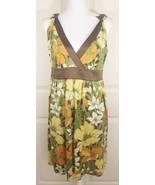Women's Tommy Bahama 100% Silk Tropical Floral V-Neck Satin Trim Dress Sz 8 - $21.95