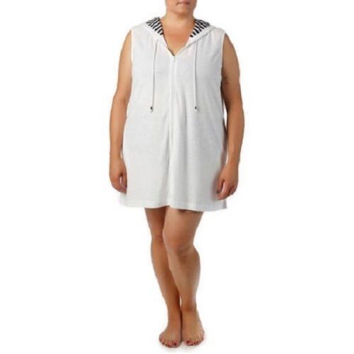 Primary image for NEW CATALINA WOMENS PLUS SIZE 3X 3XL WHITE HOODED SWIMSUIT BATHING SUIT COVER UP